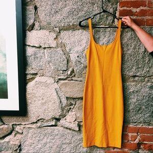 Zara mustard midi bodycon dress